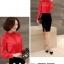 Preorder เสื้อทำงาน สีแดง คอตั้ง แขนแต่งระบายสวย จับจีบด้านหน้าสวยงาม thumbnail 2