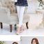Preorder เสื้อทำงาน คอจีน สีกรม ผูกเอว ผ้าพิมพ์ลาย thumbnail 4