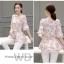 Preorder เสื้อทำงาน สีชมพู ผูกเอว ผ้าพิมพ์ลายนก แขนแต่งระบายสวย thumbnail 4