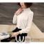 Preorder เสื้อทำงาน สีขาว คอตั้ง แขนแต่งระบายสวย จับจีบด้านหน้าสวยงาม thumbnail 7