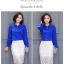 Preorder เสื้อทำงาน สีน้ำเงิน ผูกโบว์หน้า เรียบหรู ช่วงคอและแขนแต่งระบายน่ารัก เนื้อผ้าระบายอากาศได้ดี thumbnail 3