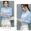 Preorder เสื้อทำงาน สีฟ้า คอตั้ง แต่งระบายช่วงคอและแขนสวยงาม เนื้อผ้าระบายอากาศได้ดี thumbnail 1