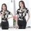 Preorder เสื้อทำงาน คอจีน สีดำ ผ้าพิมพ์ลายดอก เนื้อผ้าระบายอากาศได้ดี แขนสั้น thumbnail 4