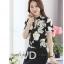 Preorder เสื้อทำงาน คอจีน สีดำ ผ้าพิมพ์ลายดอก เนื้อผ้าระบายอากาศได้ดี แขนสั้น thumbnail 3