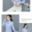 Preorder เสื้อทำงาน สีฟ้า ผูกโบว์หน้า เรียบหรู ช่วงคอและแขนแต่งระบายน่ารัก เนื้อผ้าระบายความอากาศได้ดี thumbnail 8