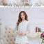 Preorder เสื้อทำงาน คอจีน สีขาว ผูกเอว ผ้าพิมพ์ลายนก thumbnail 3