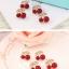 Preorder ต่างหู พวง Cherry แบบเก๋ ตัวลูกเชอร์รี่เป็นงานลงยาสีแดงสด โลหะสีทอง ใบประดับเพชร CZ thumbnail 4