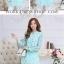 Preorder เสื้อทำงาน คอจีน สีเขียว ผูกเอว ผ้าพิมพ์ลายนก thumbnail 3