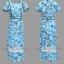 Pre-order ชุดทำงาน เดรสเรียบร้อย สีฟ้า Blue Floral dress คัตติ้งสวยเนี้ยบ มีไซส์ใหญ่ S - XXL thumbnail 11