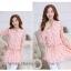 Preorder เสื้อทำงาน คอจีน สีชมพู ผูกเอว ผ้าพิมพ์ลายนก thumbnail 1