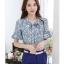 Preorder เสื้อทำงาน สีฟ้าคราม พิมพ์ลายดอกไม้สวยเก๋ เนื้อผ้าระบายอากาศได้ดี thumbnail 3