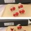 Preorder ต่างหู พวง Cherry แบบเก๋ ตัวลูกเชอร์รี่เป็นงานลงยาสีแดงสด โลหะสีทอง ใบประดับเพชร CZ thumbnail 3