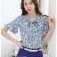 Preorder เสื้อทำงาน สีฟ้าคราม พิมพ์ลายดอกไม้สวยเก๋ เนื้อผ้าระบายอากาศได้ดี thumbnail 6