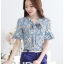 Preorder เสื้อทำงาน สีฟ้าคราม พิมพ์ลายดอกไม้สวยเก๋ เนื้อผ้าระบายอากาศได้ดี thumbnail 2