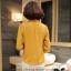 พร้อมส่ง เสื้อทำงาน สีเหลืองขมิ้น คอตั้ง แขนแต่งระบายสวย จับจีบด้านหน้าสวยงาม ** พร้อมส่ง XL , L ** thumbnail 9