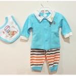 (สีฟ้าขาว) 3-6 เดือน ชุดเด็กน่ารัก เสื้อแขนยาวสีฟ้าขาว กางเกงลายขวางสีน้ำตาล ส้ม ขาว ผ้ากันเปื้อนลายหมี สีฟ้าขาว (ร้านคิดดีช้อปฟอร์ยู )