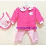 (สีขาวชมพู) 3-6 เดือน ชุดเด็กน่ารัก เสื้อแขนยาวสีชมพู กางเกงสีขาวลายดอกไม้ ผ้ากันเปื้อนลายหมี สีชมพู ผ้าคอตตอล (ร้านคิดดีช้อปฟอร์ยู )