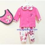 (สีชมพูขาว) 3-6 เดือน ชุดเด็กน่ารัก เสื้อแขนยาวสีชมพู กางเกงสีขาวลายดอกไม้ ผ้ากันเปื้อนลายหมี สีชมพู ผ้าคอตตอล (ร้านคิดดีช้อปฟอร์ยู )