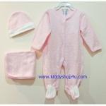 (สีชมพูขาว) 3-6 เดือน ชุดบอดี้สูทเด็ก ชุดหมีคลุมเท้า หมวก ผ้าห่ม ลายโบ สีชมพูขาว ชุดเด็กน่ารัก พร้อมส่ง ราคาถูก (ร้านคิดดีช้อปฟอร์ยู )