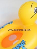ห่วงยางสอดขาว่ายน้ำเด็กเล็ก ลายเป็ด สีเหลืองด้านล่างสีส้ม แบบสูบลม (สีเหลือง)