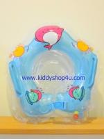 ห่วงคอว่ายน้ำเด็กเล็ก มีกระพรวนด้านใน มีที่จับด้านบนซ้ายขวา,ที่ล๊อกคอสามารถปรับเลื่อนได้ เป่าลมสองชั้น (สีฟ้า)