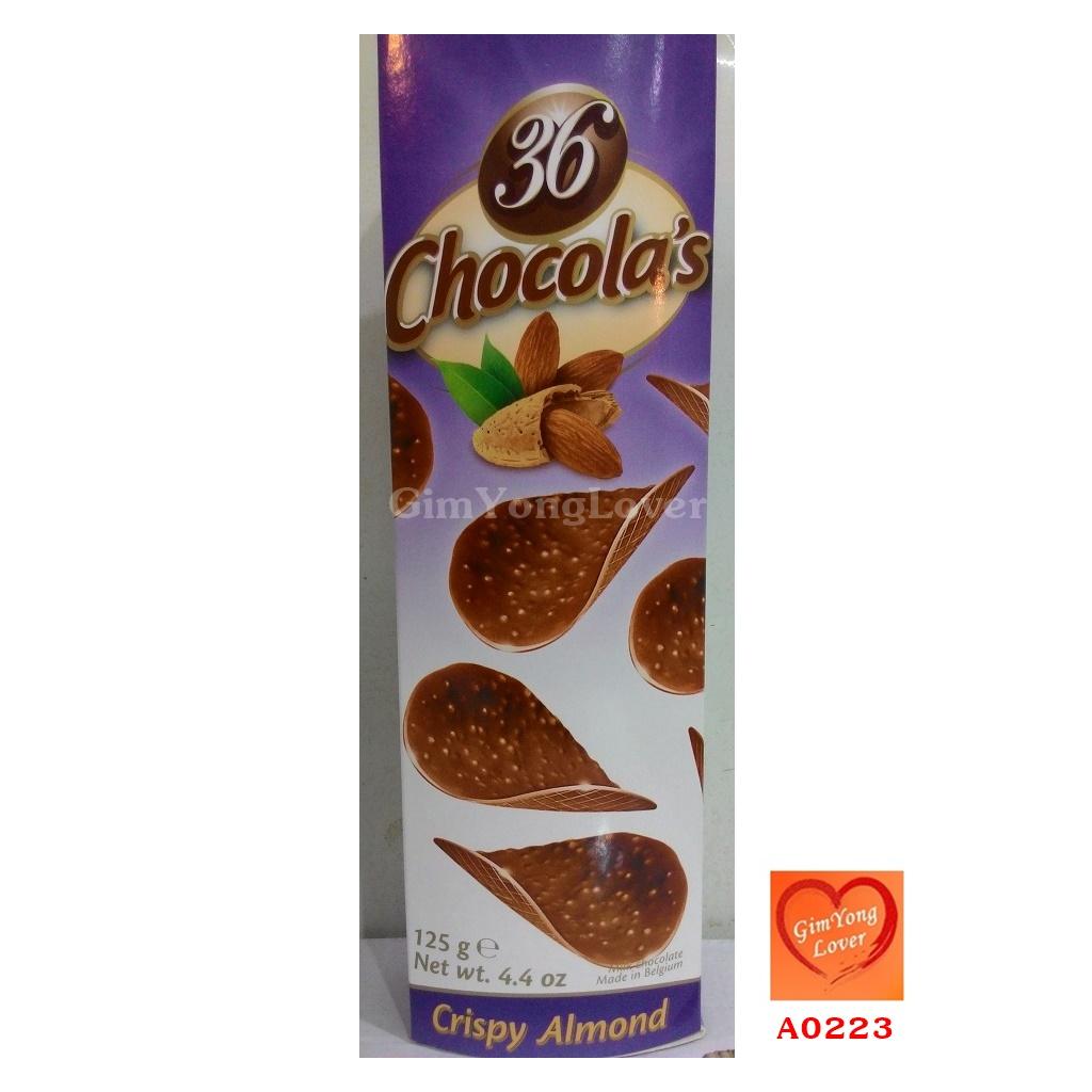 36 Chocola's ช็อคโกแลตแผ่นผสมเกร็ดอัลมอนต์ (36 Chocola's Crispy Almond)