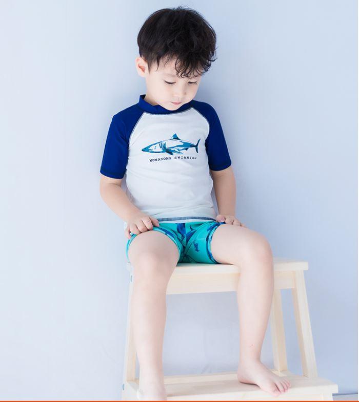 ชุดว่ายน้ำเด็กผู้ชาย เสื้อแขนสั้นสีน้ำเงินขาว กางเกงขาสั้น มีเชือกผูกปรับเอวได้สีเขียวอ่อน พร้อมหมวก ลายปลา Momasong