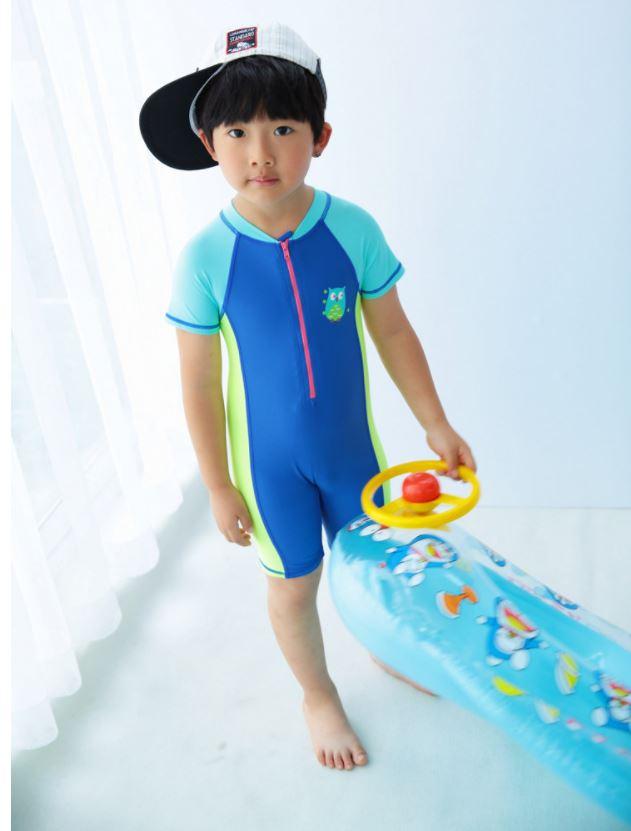 ชุดว่ายน้ำเด็กผู้ชาย bodysuit แขนสั้นขาสั้น ซิปหน้า สีน้ำเงิน พร้อมหมวก