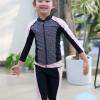 ชุดว่ายน้ำเด็กหญิง แขนยาว ขายาว สีชมพูอ่อน-ดำ (เสื้อซิปหน้า)