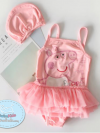 ชุดว่ายน้ำเด็กหญิง สีชมพู ลาย Peppa พร้อมหมวก