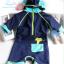 ชุดว่ายน้ำเด็กผู้ชาย Bodysuit ลายปลา สีน้ำเงินฟ้า ซิปหลัง พร้อมหมวก thumbnail 2