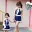 ชุดว่ายน้ำเด็กผู้หญิงสีน้ำเงินเข้ม ขาว พร้อมหมวก (มีคู่ แม่-ลูก ด้วยค่ะ จะซื้อเดี่ยว หรือซื้อคู่ ก็ได้ค่ะ) thumbnail 2
