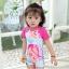 ชุดว่ายน้ำbodysuitเด็กเล็กผู้หญิง แขนสั้นขาสั้นสีชมพู ซิปหลัง พร้อมหมวกเข้าชุด thumbnail 2