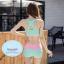 ชุดว่ายน้ำผู้หญิง ผู้ใหญ่ แบบ sport เสื้อแขนยาว กางเกงขาสั้น 1 set มี 3 ชิ้น มีให้เลือก 2 สี --->เขียวมิ้น /ฟ้า thumbnail 3
