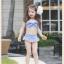ชุุดว่ายน้ำเด็กผู้หญิงทูพีชสีฟ้าขาว พร้อมหมวก thumbnail 2