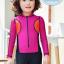 ชุดว่ายน้ำบอดี้สูทเด็กผู้หญิงแขนยาวขายาว ซิปหน้า สีชมพูเข้ม thumbnail 3